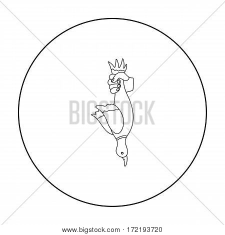 Hunted duck icon in outline style isolated on white background. Hunting symbol vector illustration.