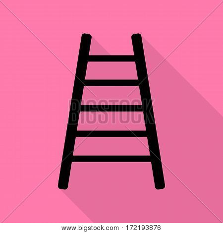 Ladder sign illustration. Black icon with flat style shadow path on pink background.