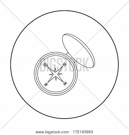 Compas icon in outline style isolated on white background. Hunting symbol vector illustration.
