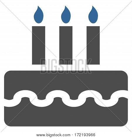 Birthday Cake flat icon. Vector bicolor cobalt and gray symbol. Pictogram is isolated on a white background. Trendy flat style illustration for web site design logo ads apps user interface.