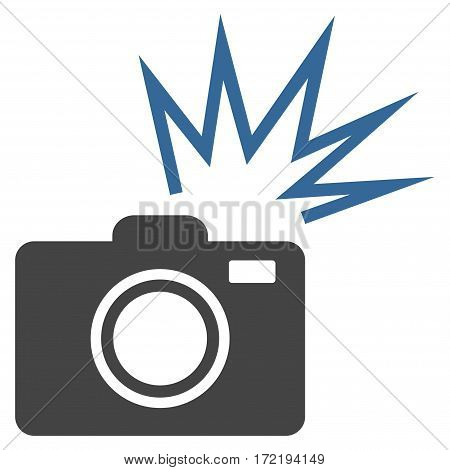 Camera Flash flat icon. Vector bicolor cobalt and gray symbol. Pictograph is isolated on a white background. Trendy flat style illustration for web site design logo ads apps user interface.