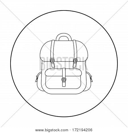 Hunting backpack icon in outline style isolated on white background. Hunting symbol vector illustration.