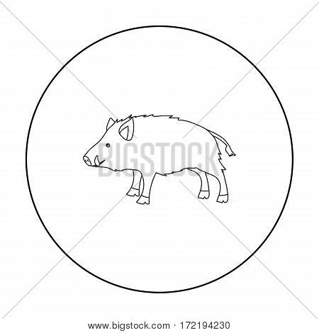 Boar icon in outline style isolated on white background. Hunting symbol vector illustration.
