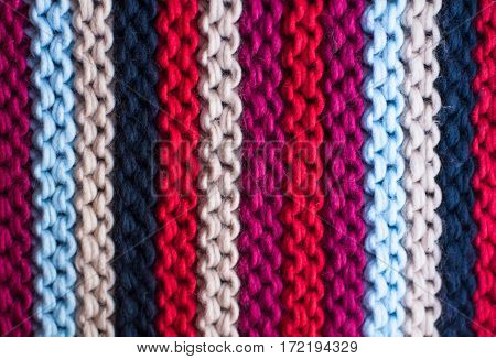 Colourful knitted minor close up from yarn