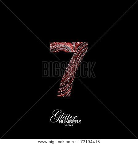 Number 7 of red and silver glitters. Typographic vector element for design. Part of curly textured alphabet with shiny paillettes. Digit seven with diffusion glitter swirly pattern. Vector illustration