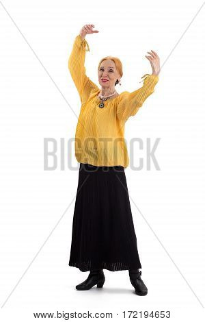 Old lady dancing. Smiling senior woman isolated.