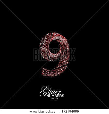 Number 9 of red and silver glitters. Typographic vector element for design. Part of curly textured alphabet with shiny paillettes. Digit nine with diffusion glitter swirly pattern. Vector illustration