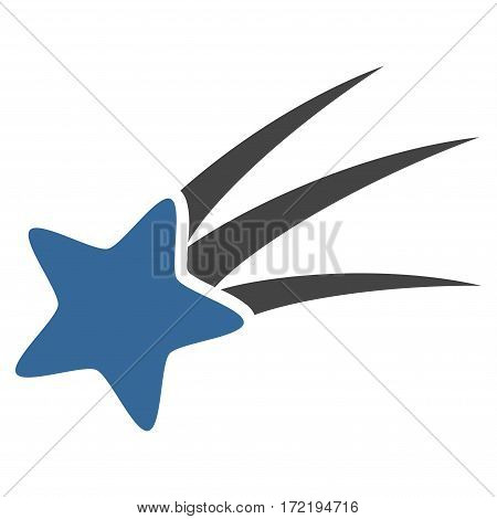 Falling Star flat icon. Vector bicolor cobalt and gray symbol. Pictogram is isolated on a white background. Trendy flat style illustration for web site design logo ads apps user interface.
