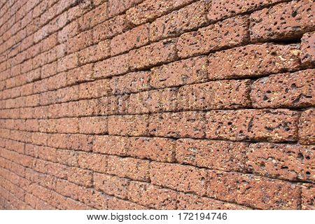 Walls made of orange rocks looked beautiful.