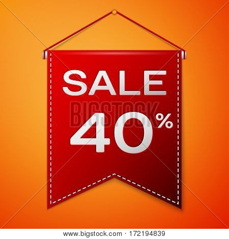 Red pennant with inscription sale forty percent Discounts over a orange background. Sale concept for shops store market, web and other commerce. Vector illustration.