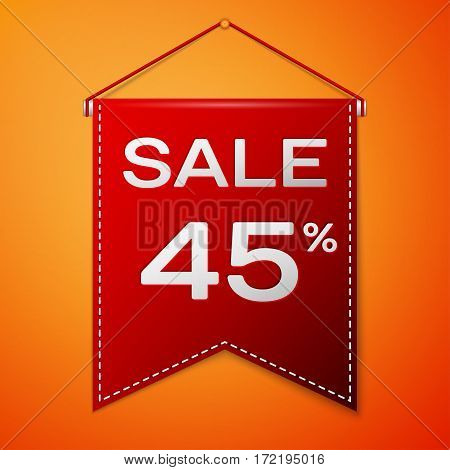 Red pennant with inscription sale forty five percent Discounts over a orange background. Sale concept for shops store market, web and other commerce. Vector illustration.