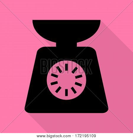 Kitchen scales sign. Black icon with flat style shadow path on pink background.