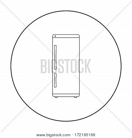 Refrigerator icon in outline style isolated on white background. Household appliance symbol vector illustration.