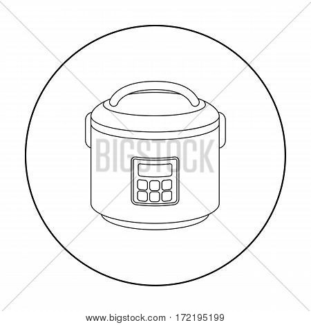 Multicooker icon in outline style isolated on white background. Household appliance symbol vector illustration.