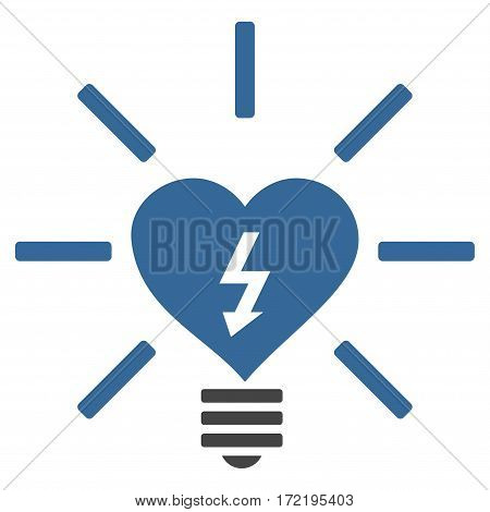Heart Electric Bulb flat icon. Vector bicolor cobalt and gray symbol. Pictograph is isolated on a white background. Trendy flat style illustration for web site design logo ads apps user interface.