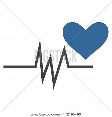 Heart Pulse Signal flat icon. Vector bicolor cobalt and gray symbol. Pictograph is isolated on a white background. Trendy flat style illustration for web site design logo ads apps user interface.