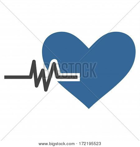 Heart Pulse flat icon. Vector bicolor cobalt and gray symbol. Pictograph is isolated on a white background. Trendy flat style illustration for web site design logo ads apps user interface.