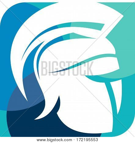 logo illustration helmet spartan warrior colorful abstract