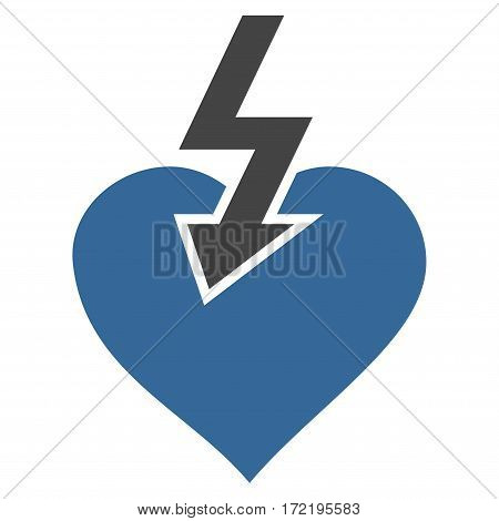 Heart Shock Strike flat icon. Vector bicolor cobalt and gray symbol. Pictograph is isolated on a white background. Trendy flat style illustration for web site design logo ads apps user interface.