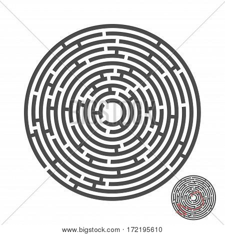 escape circle labyrinth with entry and exit.vector game maze puzzle with solution.Num.04