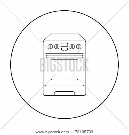 Kitchen stove icon in outline style isolated on white background. Household appliance symbol vector illustration.