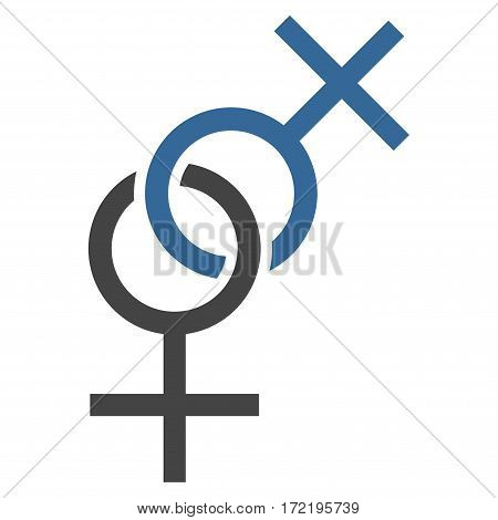 Lesbian Love Symbol flat icon. Vector bicolor cobalt and gray symbol. Pictograph is isolated on a white background. Trendy flat style illustration for web site design logo ads apps user interface.