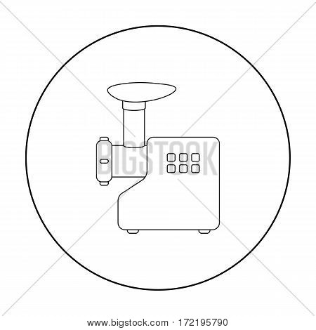 Electical meat grinder icon in outline style isolated on white background. Household appliance symbol vector illustration.