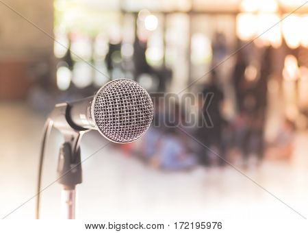 Microphone with place your text, Microphone in concert hall or conference room. Studio equipment.
