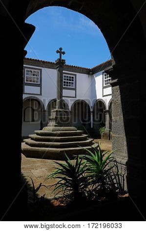 Patio with column and cross on it Portugal