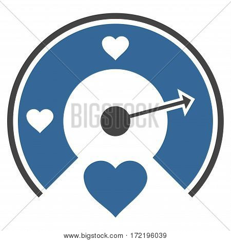 Love Gauge flat icon. Vector bicolor cobalt and gray symbol. Pictograph is isolated on a white background. Trendy flat style illustration for web site design logo ads apps user interface.
