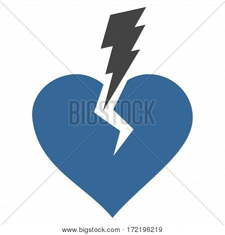 Love Heart Crash flat icon. Vector bicolor cobalt and gray symbol. Pictogram is isolated on a white background. Trendy flat style illustration for web site design logo ads apps user interface.