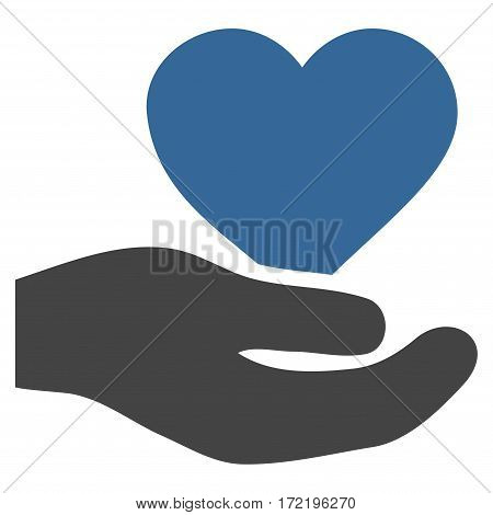 Love Heart Offer Hand flat icon. Vector bicolor cobalt and gray symbol. Pictograph is isolated on a white background. Trendy flat style illustration for web site design logo ads apps