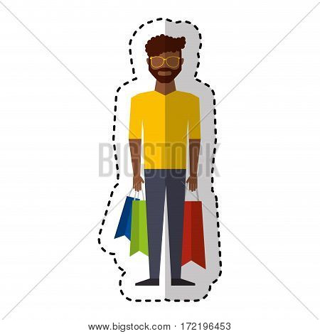 young man with shopping bag vector illustration design