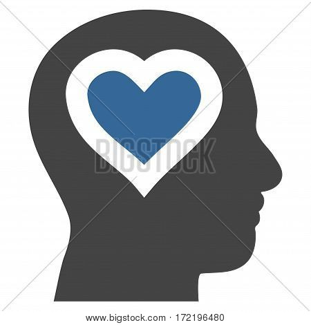 Love In Head flat icon. Vector bicolor cobalt and gray symbol. Pictogram is isolated on a white background. Trendy flat style illustration for web site design logo ads apps user interface.