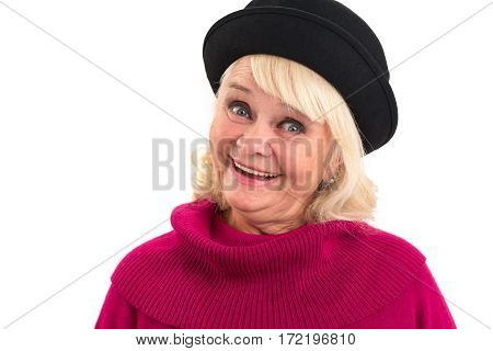Isolated senior lady smiling. Happy woman isolated.
