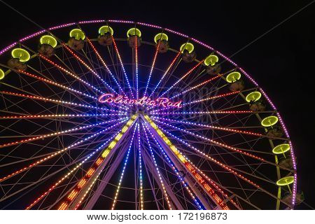 DUISBURG GERMANY - DECEMBER 17 2016: Christmas market with illuminated ferris wheel in the center of Duisburg Germany