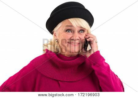 Smiling senior woman with cellphone. Happy lady isolated. Best mobile operator.