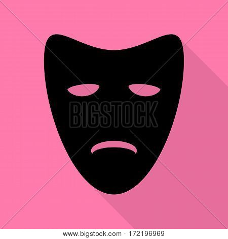 Tragedy theatrical masks. Black icon with flat style shadow path on pink background.