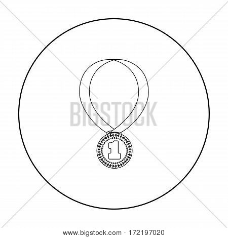 Gold medal for equestrian sport icon in outline design isolated on white background. Hippodrome and horse symbol stock vector illustration.