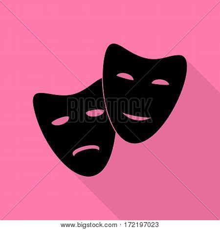 Theater icon with happy and sad masks. Black icon with flat style shadow path on pink background.