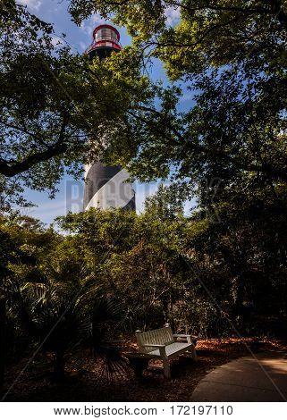 Lighthouse on Atlantic coast in St. Augustine, Florida.
