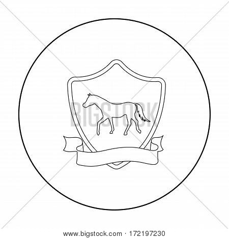 Equestrian blaze icon in outline design isolated on white background. Hippodrome and horse symbol stock vector illustration.