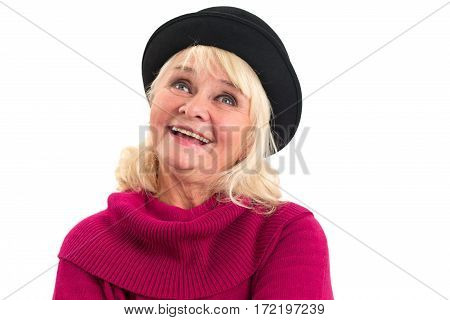 Woman smiling and looking up. Portrait of senior happy lady.