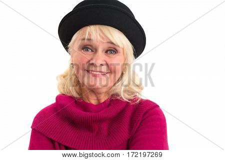 Elderly woman smiling. Portrait of happy lady. Purity of emotion.