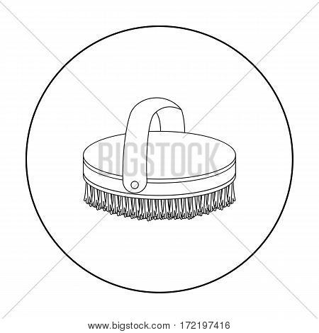 Horse body brush icon in outline design isolated on white background. Hippodrome and horse symbol stock vector illustration.
