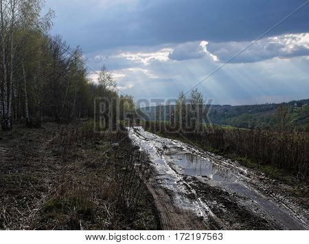 Spring country road after heavy rains, Tula Region, Russia