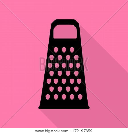 Cheese grater sign. Black icon with flat style shadow path on pink background.