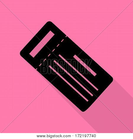 Ticket simple sign. Black icon with flat style shadow path on pink background.