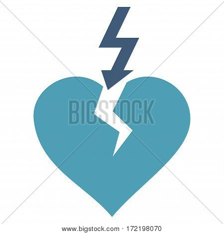 Break Heart flat icon. Vector bicolor cyan and blue symbol. Pictogram is isolated on a white background. Trendy flat style illustration for web site design logo ads apps user interface.