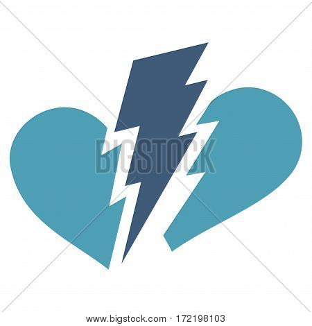 Broken Heart flat icon. Vector bicolor cyan and blue symbol. Pictogram is isolated on a white background. Trendy flat style illustration for web site design logo ads apps user interface.